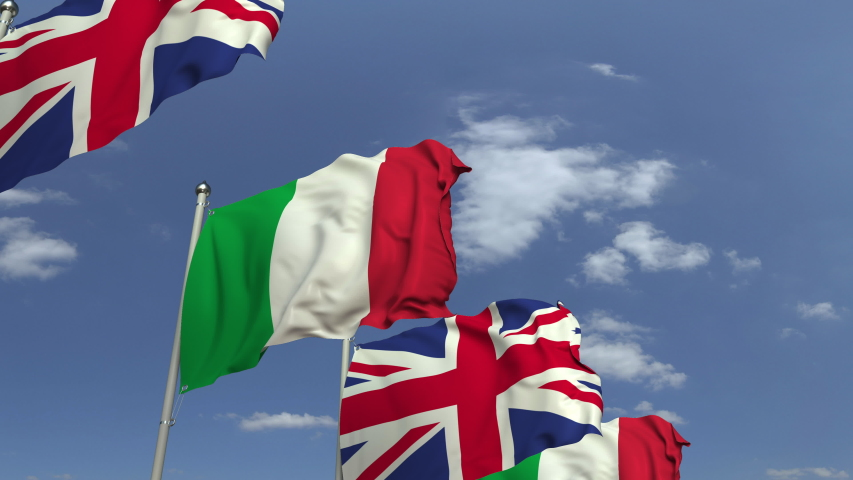 Flags of Italy and the United Kingdom at international meeting, loopable 3D animation   Shutterstock HD Video #1031842412