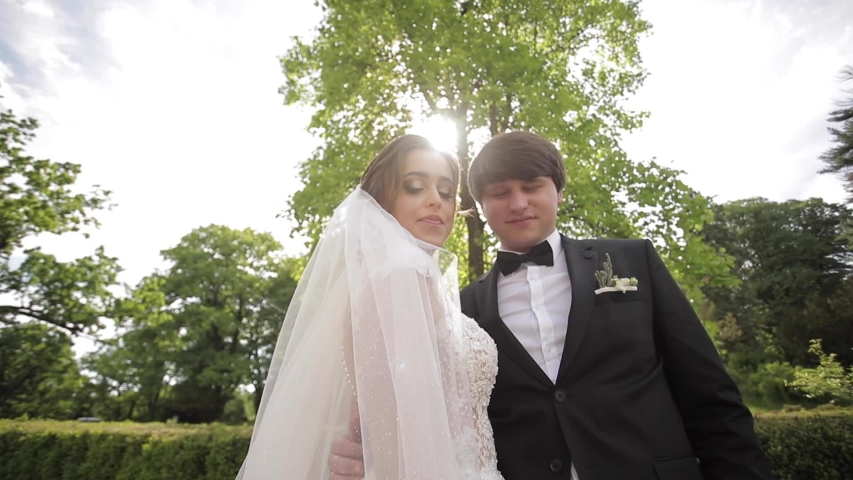 Newlyweds are walking in the park near the big castle. Beautiful bride with handsome groom | Shutterstock HD Video #1031852615