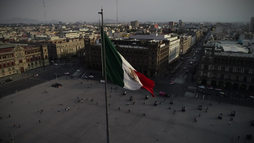 Bandera de Mexico en zócalo capitalino drone view | Shutterstock HD Video #1031865461