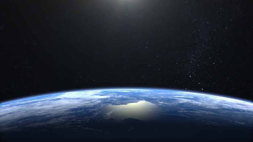 Earth from space. The camera is approaching Earth. Stars twinkle. 4K. Realistic atmosphere. 3D Volumetric clouds. No sun in the frame.   Shutterstock HD Video #1031870096
