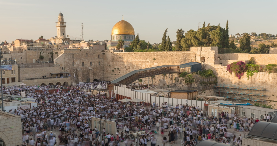 Zoom in Time lapse of The Dome of the Rock on the temple mount, and the western wall in Jerusalem, Israel