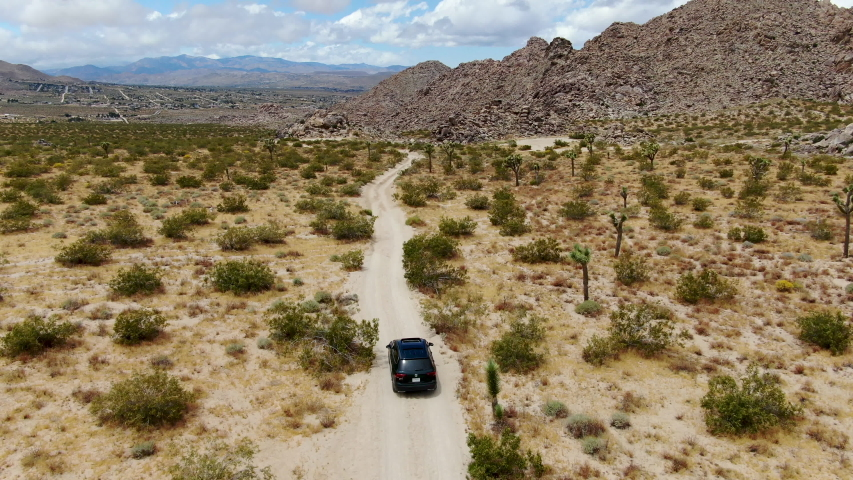 Aerial view of 4x4 car driving off road in the desert. Joshua Tree National Park. American national park in southeastern California. SUV driving in arid desert, USA. 05/22/2019