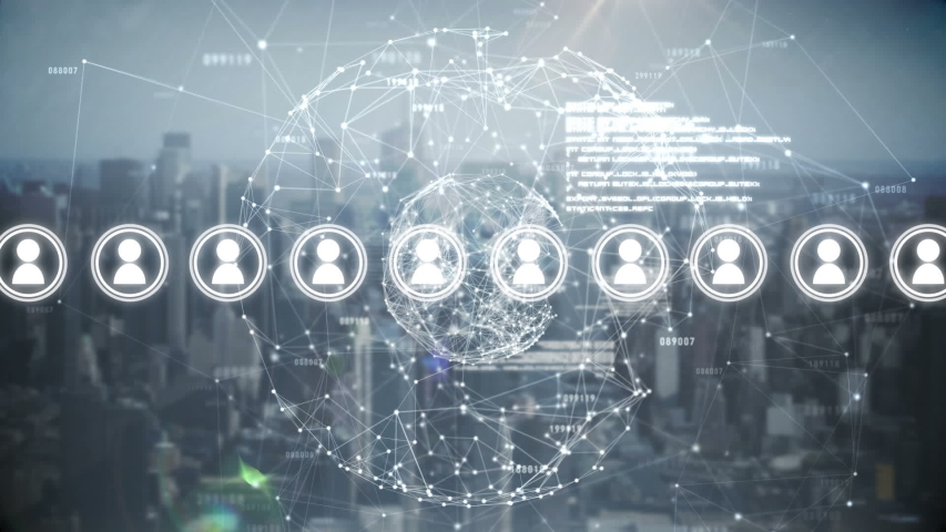 Digital animation of people icon vectors in a linear formation surrounded with round network loops in a background of city buildings.    Shutterstock HD Video #1031916353