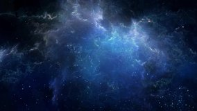 Space Nebula blue background 4k video moving stars space background rotation nebula