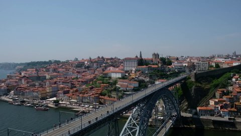 View of the Dom Luis I Bridge, Douro river from Vila Nova de Gaia in Porto, Portugal in Porto. The bridge was built between 1881 and 1886. Blue sky.