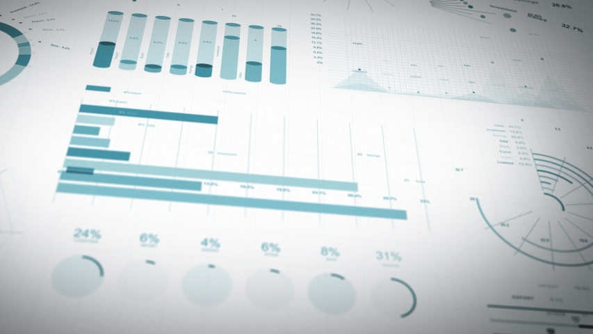 Business Statistics, Market Data And Infographics Layout/ 4k animation of a set of design business and market data analysis and reports, with infographics, bar stats, charts and diagrams | Shutterstock HD Video #1032000761
