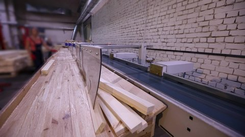 Automatic determination of the length of a wooden beam, modern conveyor, automated line, modern furniture manufacturing factory