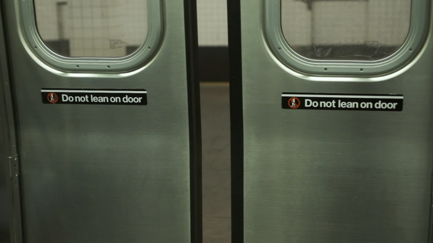 Train Opens The Door. Do Not Lean On Door. Subway Station In New York. Close-up.
