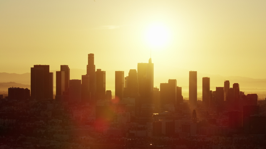 Aerial view sunrise over financial district skyscrapers of downtown Los Angeles with US Bank Tower California USA #1032005723