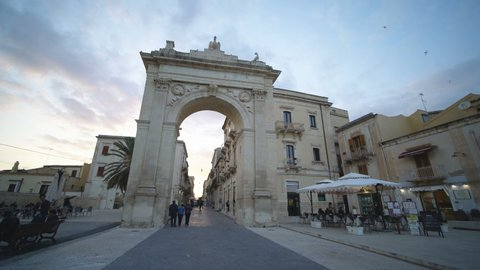 NOTO, ITALY - 17TH APRIL 2018: Gate to the city Noto, Sicily, Italy, Europe.