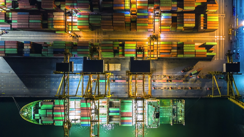 4K Time lapse industrial port with containers from top view or aerial view. It is an import and export cargo port where is a part of shipping dock | Shutterstock HD Video #1032025820