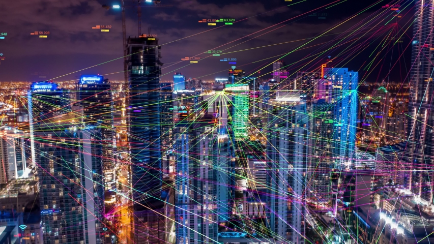 Aerial city. Wireless network, mobile technology concept 5G data communication. Digital network. cloud computing, artificial intelligence, internet of things. Futuristic city skyline.  Royalty-Free Stock Footage #1032034754