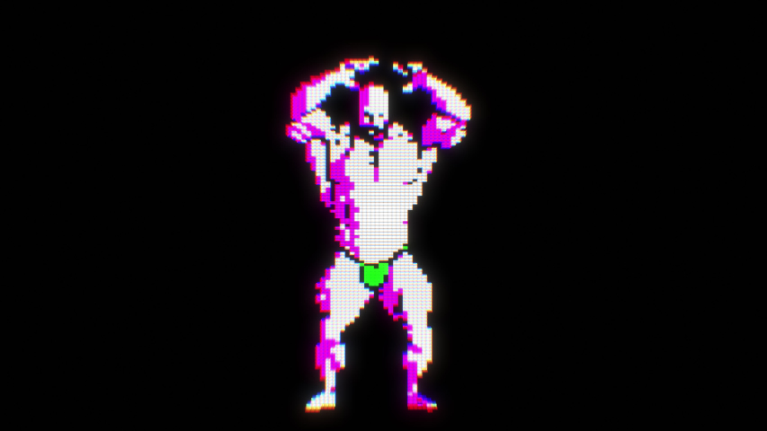 Seamless funny animation of a dancing videogame bodybuilder muscular character isolated with alpha channel. Chromatic aberration screen pixel style backdrop.