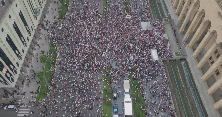 Top Aerial overhead shot on Protesting people manifestation in Tbilisi