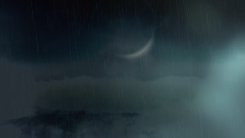 Digital animation of the sky with dark clouds and a crescent moon. Lightning moves around the screen. | Shutterstock HD Video #1032071645