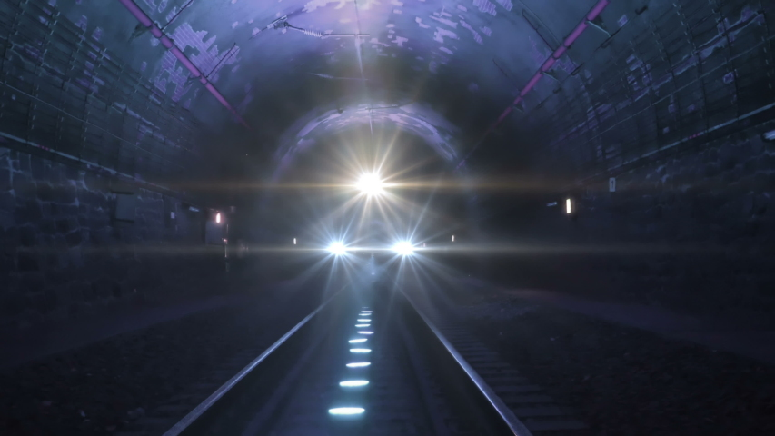 Extreme train coming towards camera in a railway tunnel. Representing achieving your goals, getting through problems and obstacles or problems seem bigger than they really are