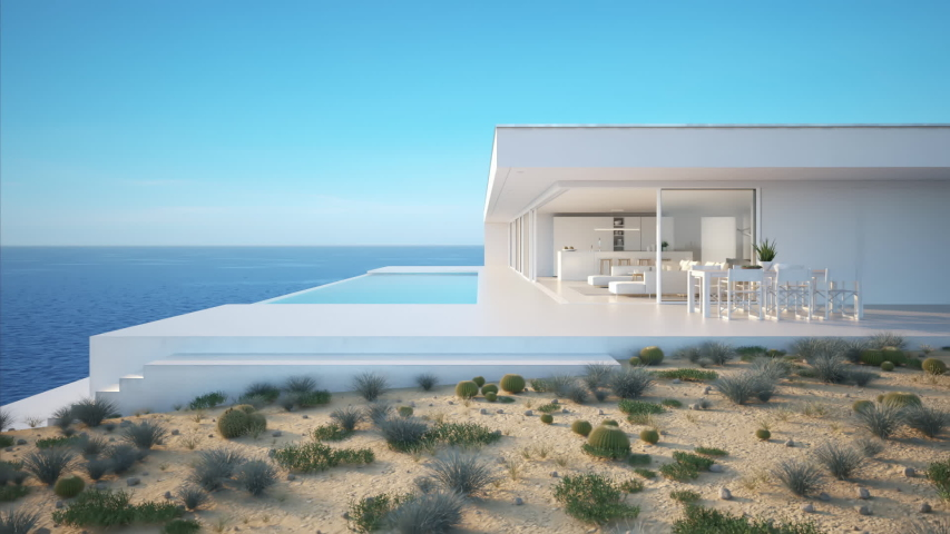Modern luxury summer villa with infinity pool. 3D-Illustration | Shutterstock HD Video #1032079646