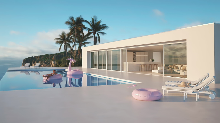 Modern luxury summer villa with infinity pool. 3D-Illustration