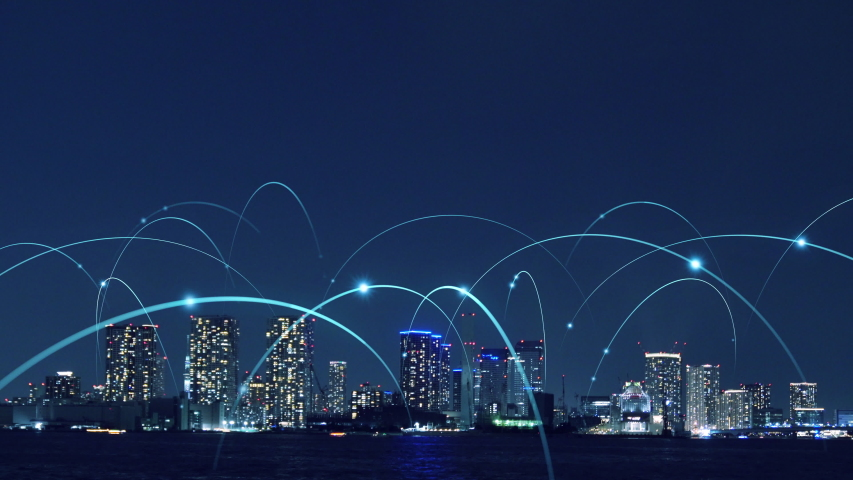 Smart city and communication network concept.   Shutterstock HD Video #1032101546