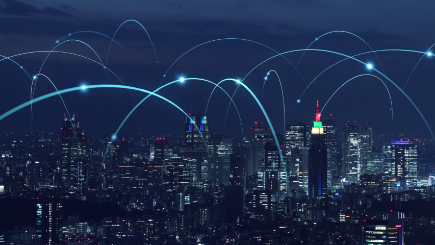 Smart city and communication network concept.   Shutterstock HD Video #1032101555