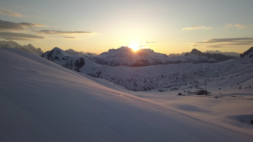 Spectacular drone aerial video of sunset in Dolomites near Cortina D'Ampezzo. | Shutterstock HD Video #1032105248