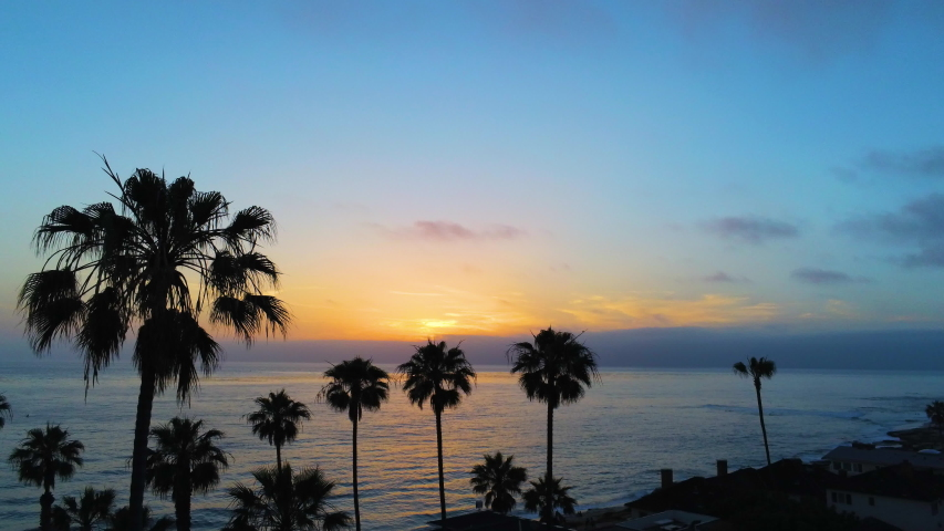 California coast sunset magic hour with blue orange skies and palm trees from drone aerial | Shutterstock HD Video #1032113372