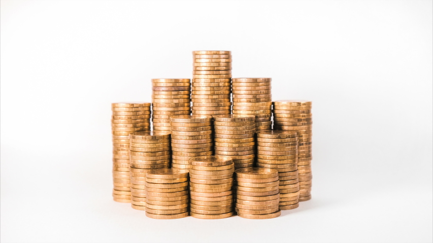 Disappearing coins lots symbolise company income decrease | Shutterstock HD Video #1032121610