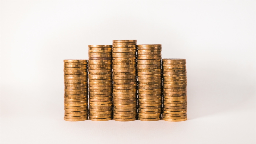 Isolated increasing gold coin lots show wealth and income | Shutterstock HD Video #1032121631