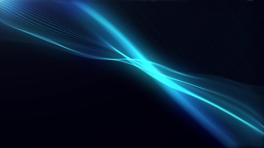 Generate Abstract particle wave form animation on black background.4K motion graphic screen saver seamless. | Shutterstock HD Video #1032136532