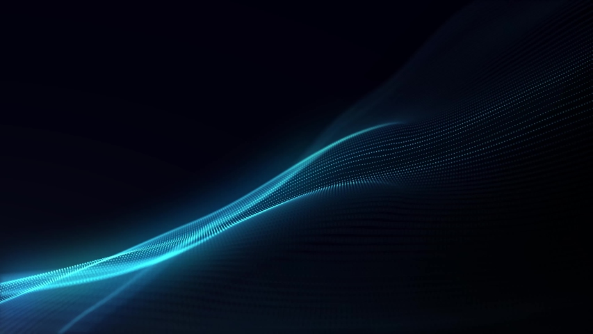 Generate Abstract particle wave form animation on black background.4K motion graphic screen saver seamless. | Shutterstock HD Video #1032136541