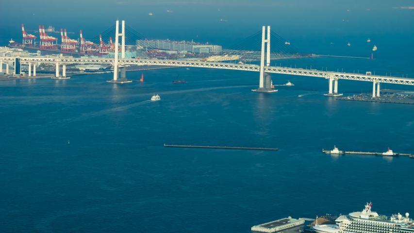 4k time lapse view of Yokohama Bay Bridge in Japan, 4k