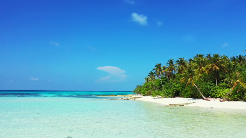 Aerial view of a low flight above shallow water in front of a tropical island with palm trees on it. In Jamaica. Dolly out.   Shutterstock HD Video #1032148778