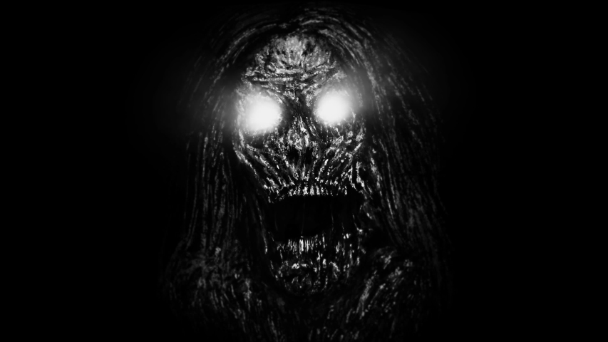 Grim zombie woman face emerging from the dark. Animation in genre of horror. Black and white colors.