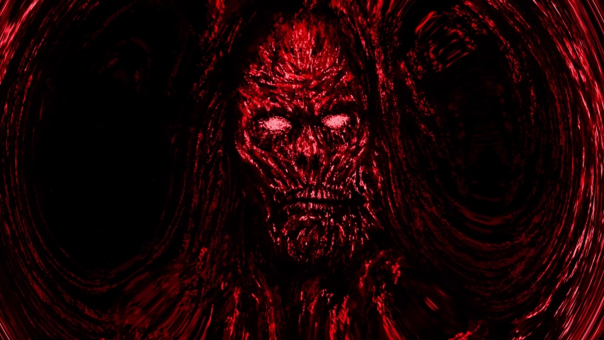 Scary red zombie face emerging from darkness with whirl effect. Animation in genre of horror.