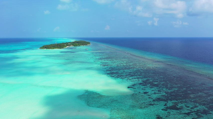 Aerial drone dolly in shot of world largest barrier reef , Great Barrier Reef Coral Pacific Ocean Queensland Australia,