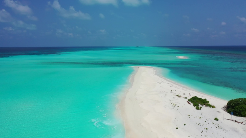 Sandbank in tropical ocean beautiful beach with white sand, paradise on earth Philippines ,aerial drone pedestal down shot