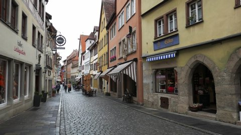 ROTHENBURG OB DER TAUBER, GERMANY - JUNE 12 , 2019: Typical street of the medieval center of the city. Zoom out