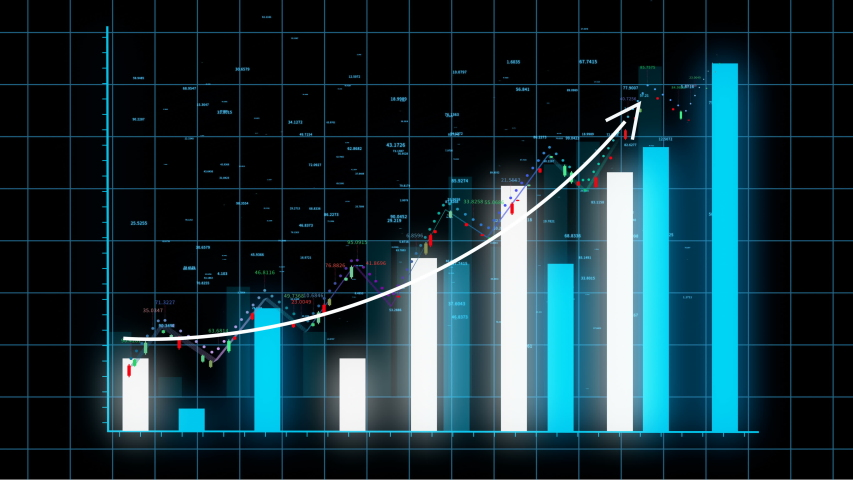 4k HUD graph with rising up arrow and bar stats,Financial data and diagrams showing a steady increase in profits,growing charts and flowing counters of numbers,Business digital trend.  | Shutterstock HD Video #1032181529