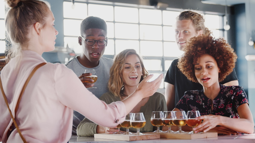 Waitress Serving Group Of Friends At Beer Tasting In Bar #1032199202