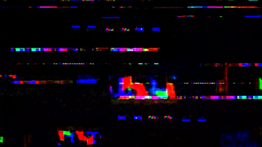 Glitch noise static television VFX. Visual video effects stripes background, tv screen noise glitch effect. Video background, transition effect for video editing, intro and logo reveals with sound. #1032210821