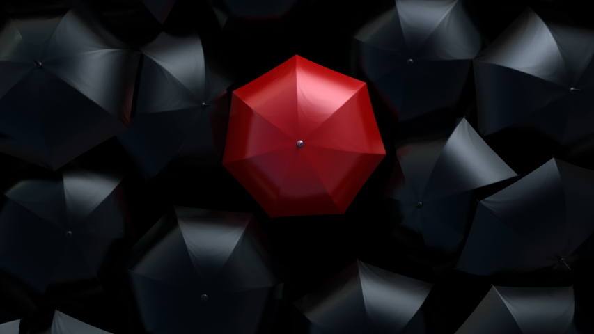 Red Umbrella Wades Through a Flow of Black Umbrellas. Leader in the Crowd Concept. Beautiful 3d Animation, 4K Ultra HD 3840x2160