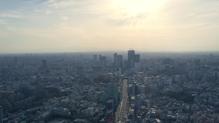 Tokyo city skyline aerial view, Japan. Cars moving by the highway road  #1032221885