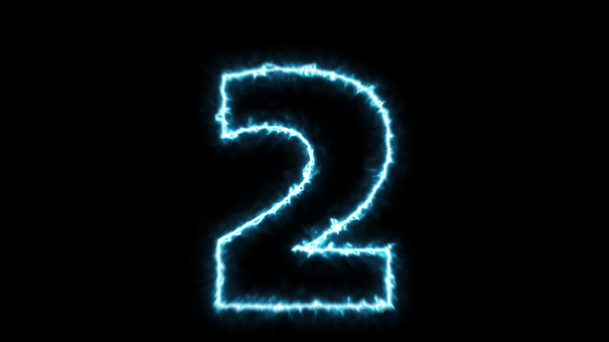 Neonlight electric Countdown with blue digits counting from 10 to 0 (in 4K). | Shutterstock HD Video #1032242393
