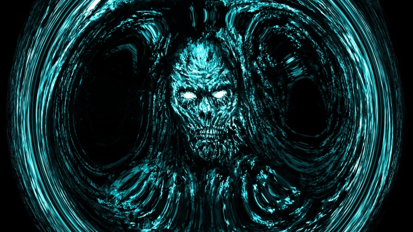 Scary blue zombie face emerging from darkness with whirlpool effect. Animation in genre of horror.
