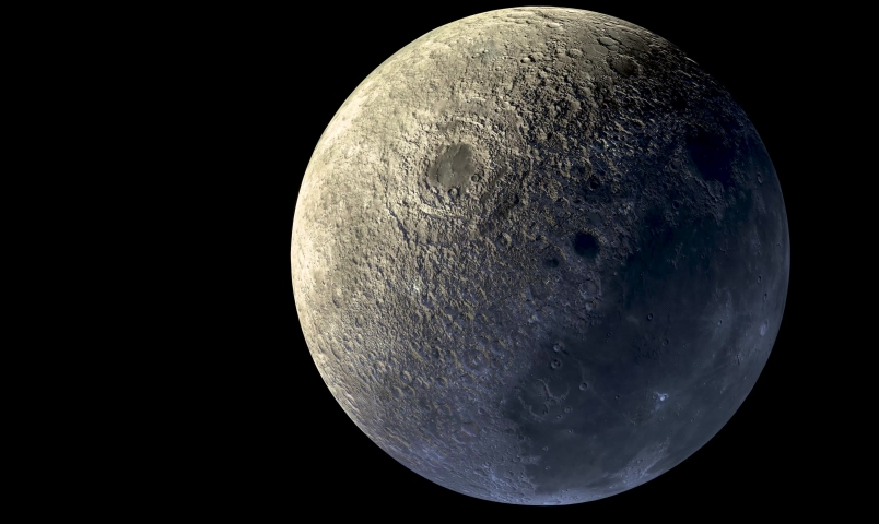 3D rander The Big Moon the natural satellite of the earth, visible (chiefly at night) by reflected light from the sun.   Shutterstock HD Video #1032270575