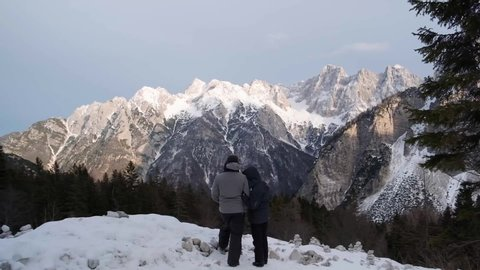 Driving and looking over the highest mountain pass in Slovenia of Vrsic. Triglav National Park, Julian Alps, Slovenia Trenta Valley