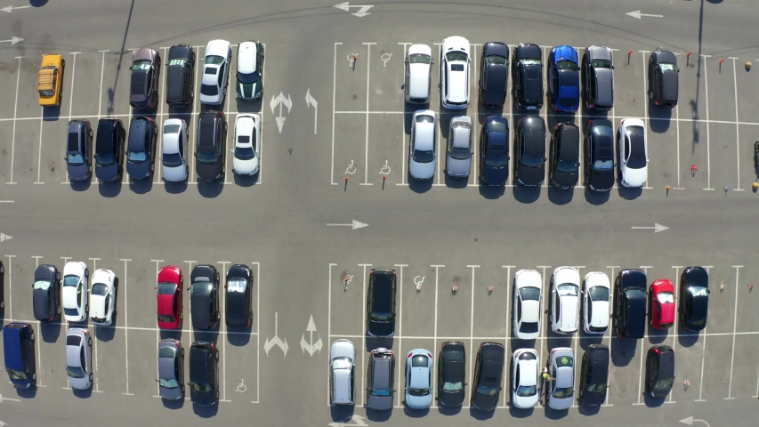 Aerial view of car parking top view | Shutterstock HD Video #1032273584