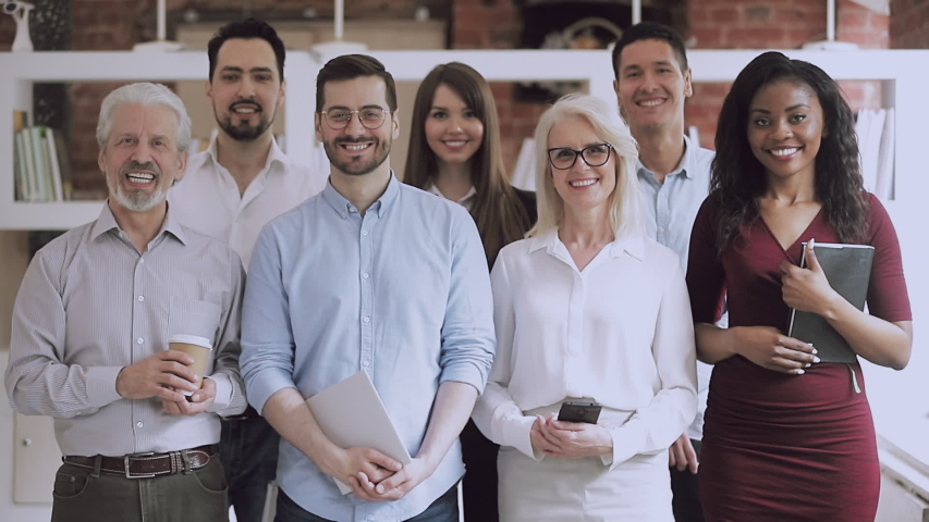 Serious happy professional business team video portrait, young and old diverse leaders employees posing together standing in office, multiracial staff corporate people workers group looking at camera Royalty-Free Stock Footage #1032278306