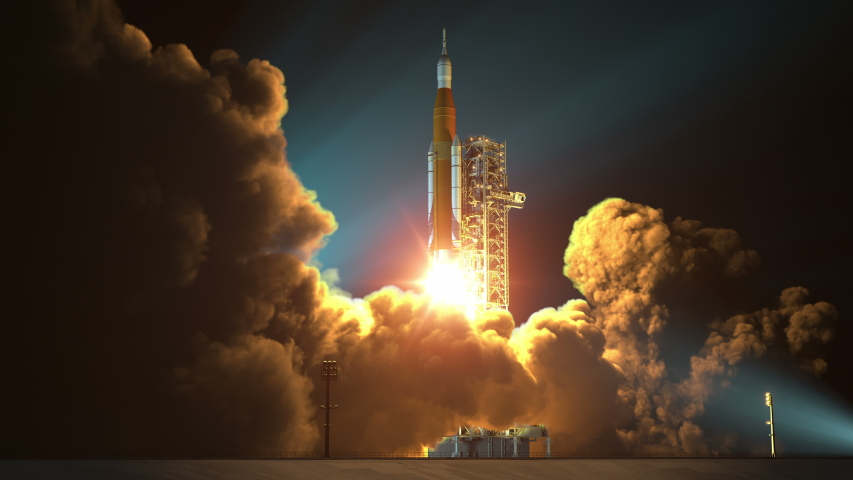 4K. Space Launch System Night Takes Off. 3D Animation. Ultra High Definition. 3840x2160.