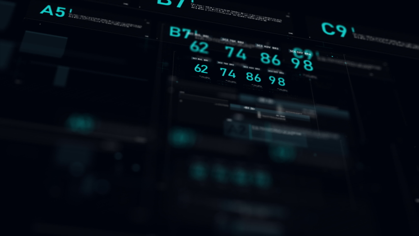 Futuristic user interface HUD GUI digital text number element for cyber technology concept with shallow depth of field dark and grain processed | Shutterstock HD Video #1032362186